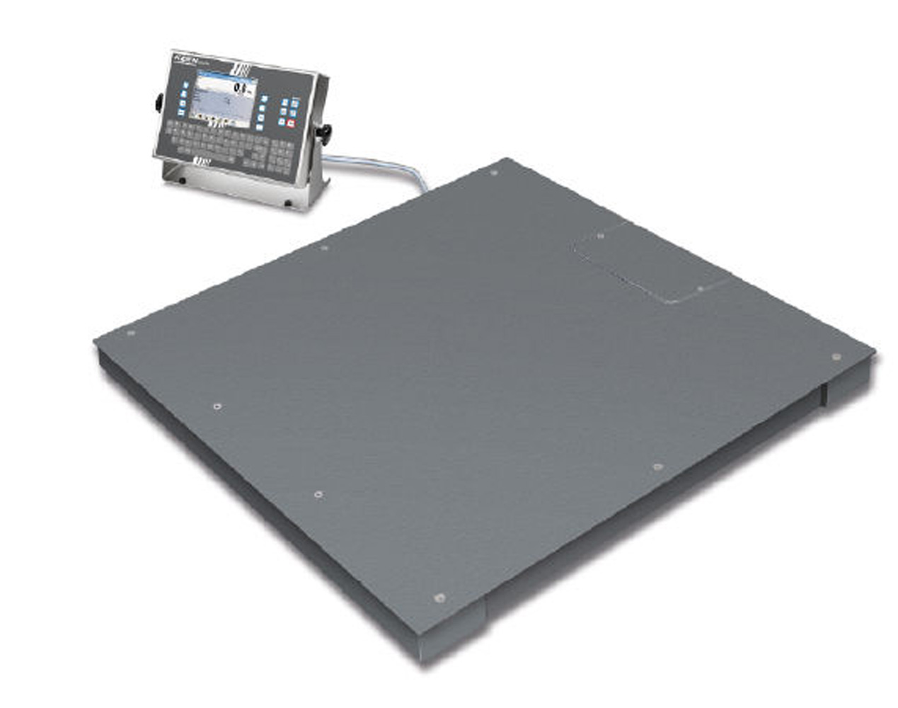 Wägebrücke mit verschraubter Wägeplatte (IP68) und Touchscreen-Auswertegerät (IP66) mit umfangreichen Industriefunktionen
