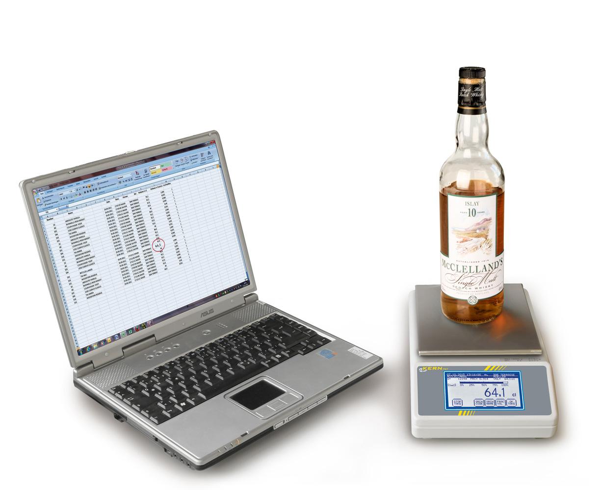 Innovative Inventurwaage mit Touchscreen zum rationellen Erfassen von Getränkemengen in Flaschen und Einlesen in den PC