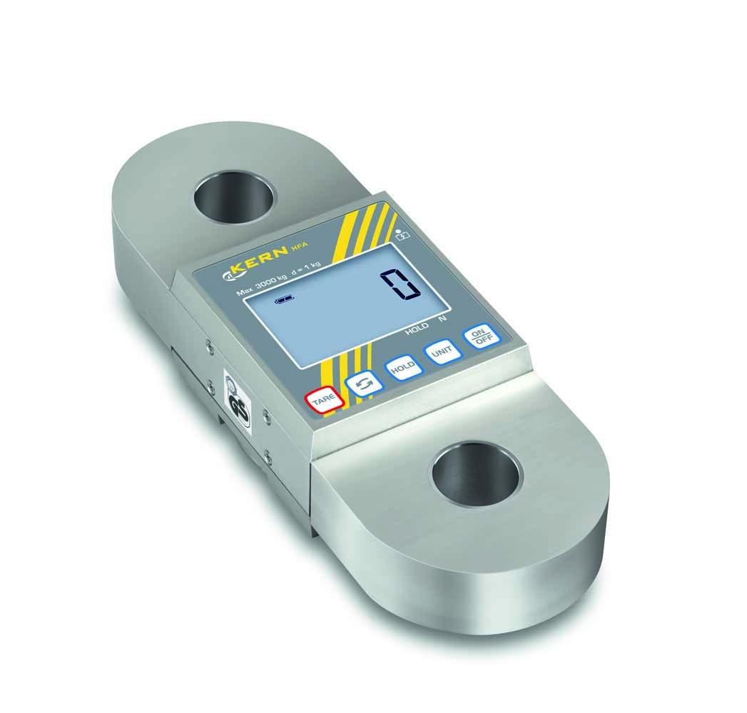Kompakte Kranwaage mit integrierter Anzeige, auch für Zugkraftmessungen verwendbar