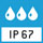 IP 67 Schutzart nach DIN EN 60529:  Geeignet für kurzzeitigen Einsatz im Nassbereich. Reinigung mit Wasserstrahl. Kurzzeitiges Untertauchen möglich. Staubdicht.
