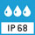 IP 68 Schutzart nach DIN EN 60529: Geeignet für dauerhaften Einsatz im Nassbereich. Reinigung mit Wasserstrahl. Untertauchen möglich. Staubdicht.